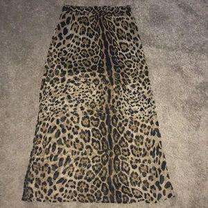 forever 21 leopard print maxi skirt